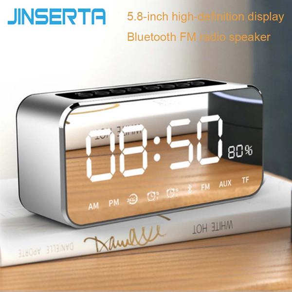 JINSERTA Portátil Mini Rádio FM Bluetooth Speaker Music Player Strong Bass com HD MIC para Handsfree Despertador Apoio TF AUX