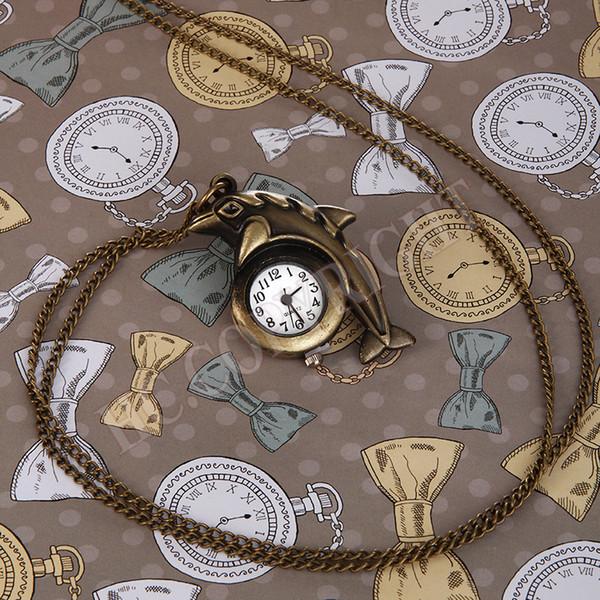 Orologio da taschino a forma di mini orologio animale carino The Cute Dolphin Shape Fashion Retro Vintage Decoration Fob Pocket Watch