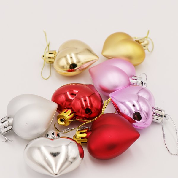 Natal 6PCS/Pack Heart Christmas Pendant Balls Christmas Tree Decoration XMAS Party Ornaments 2020 Christmas Decorations For Home