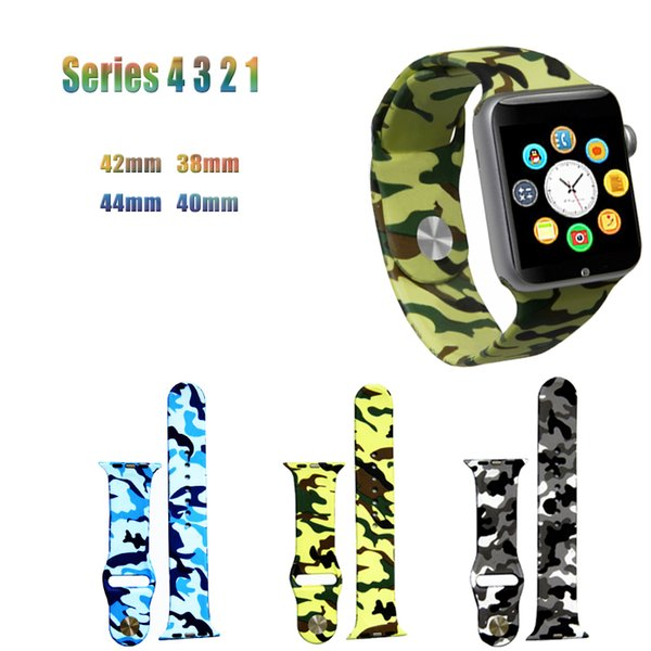 Camouflage TPU Bracelet Strap For Apple Watchband 44mm 40mm & Apple Watch Bands 42mm 38mm iwatch Series 4 3 2 1 band Accessories