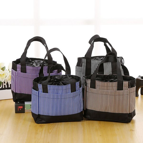 Isolierte Lunch Bag Cold Canvas Stripe Picknick-Tragetasche Thermal Portable 129