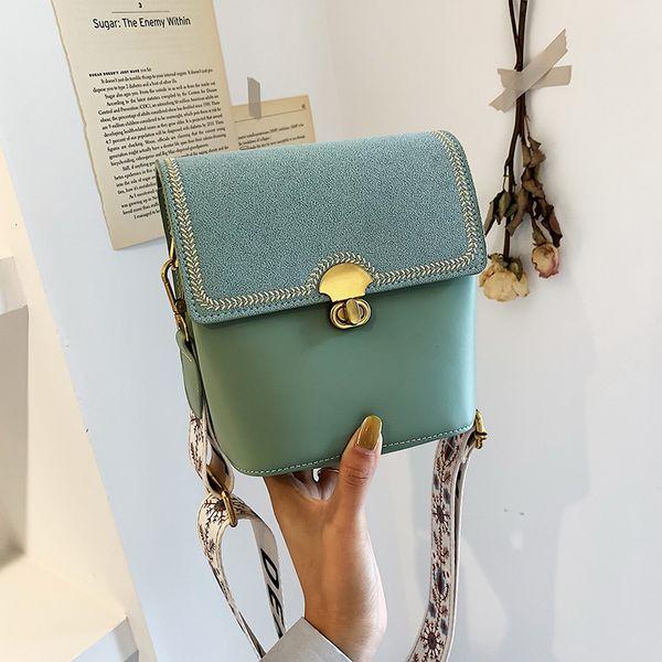 Luxury designer new style joker embroidery line single cross body bag fashion lock broadband bucket bag