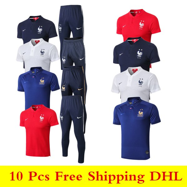 top popular wholesale new 18 19 Frence 2 starts Polo shirts Pogba sweatshirt 2018 2019 Mbappe soccer jersey Griezmann Giroud short sleeve training suit 2019