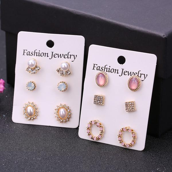 3 Paare / Set Böhmische Ohrstecker Set für Frauen neue Art und Weise Schmuck Accessoires Retro-Perlen-Kristallohrring-Geschenke