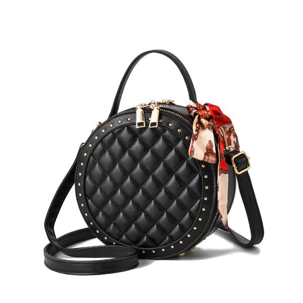 Frauen Umhängetasche Runde Tasche weibliche Mini Handtasche kleine Umhängetaschen Messenger Bags für Frauen 2019 Lady PU Leder Handtasche Diamond Lattice