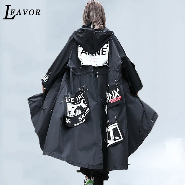 2019 Spring Oversized Hooded Trench Coat Women New Letter Pattern Patch Designs Pins Punk Rock Trench Casual Jacket Women 197