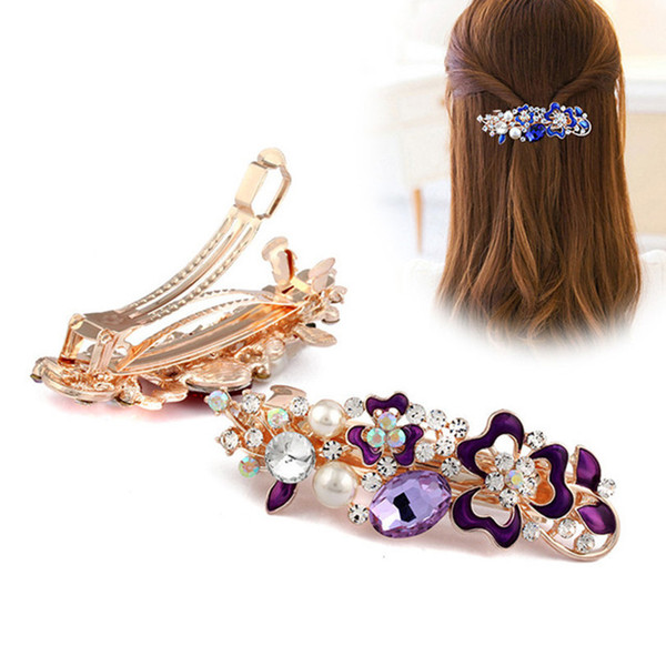 2019 New Crystal Flower Hair Clips Hairpins for Women Girls Fashion Rhinestone Pearl Clips Hair Barrettes Headwear Jewelry Gift Accessories