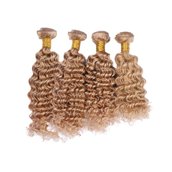 Медовый Светлый Цвет Человеческих Волос Уток Наращивание 4 Пучки Для Женщин Чистого Цвета 27 Бразильские Глубокие Волосы Пучки 4 Шт.