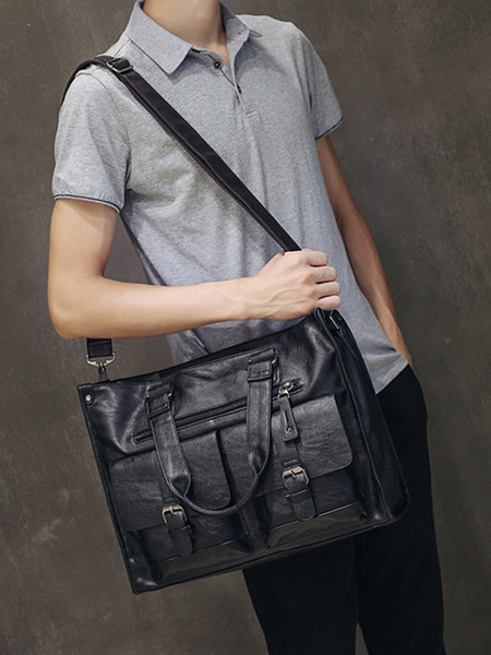 "best selling leather laptop bag men black Briefcase 15.6"" Fashion Business Bags vintage Casual mens computer bag office bags for men"