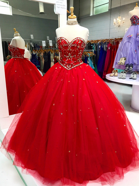 Red Cheap Quinceanera Dresses Long Sweetheart Designer 2019 Rhinestones Beaded Tulle Sweet 15 16 Girls Party Evening Ball Gowns Dresses For 2015