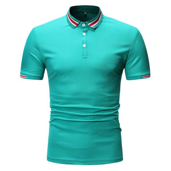 Polo Shirt Uomo manica corta Polo Camicie Casual Slim Fit Top Business Work Wear Abbigliamento estivo 2019 Verde Giallo