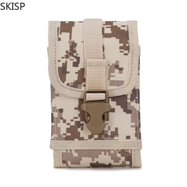 Outdoor equipment tactical leather jacket SKISP army camouflage bag hook belt leather case mobile phone case protection 5.5phone