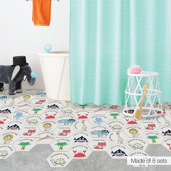 10PCS/Set Hexagon Cartoon Animals PVC Mat Wall Stickers Home Decor Kids Room Nursery Floor Decoration Early Education Ground Mural Poster