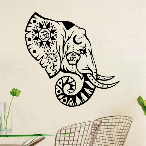 1 Pcs Indian Pattern Om Sign Elephant Wall Sticker Black Wall Decals For Bedroom Nursery Removable Vinyl Art Decals Home Decor