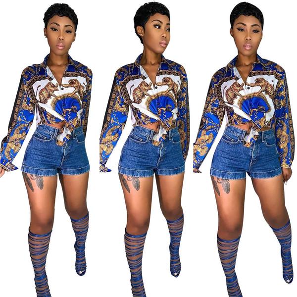 2019 nouveau bleu impression femmes chemises printemps été automne manches longues revers de la mode chemise chemisier avec boutons club tops vraies images