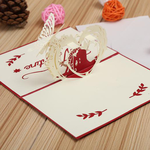 3D Pop Up Greeting Cards With Envelope Laser Cut Post Card For Birthday Christmas Valentine' Day Party Wedding Decoration