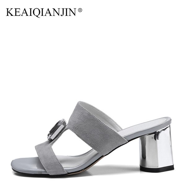 KEAIQIANJIN Summer Genuine Leather High Heels Shoes Fashion Pink Sandal Plus Size 33 - 43 Black Sexy Woman Crystal Slipper 2018