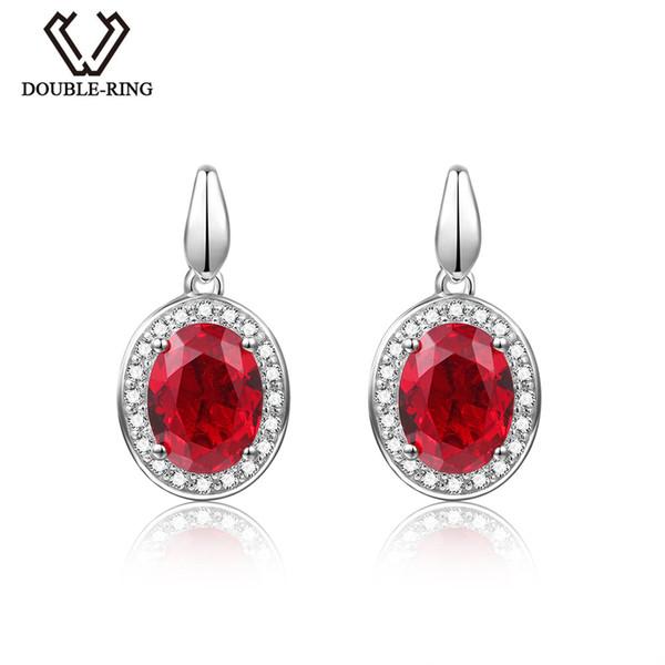 DOUBLE-R 2.8ct Created Oval Ruby Gemstone 925 Earrings Zircon Sterling Silver Earring Y18110503