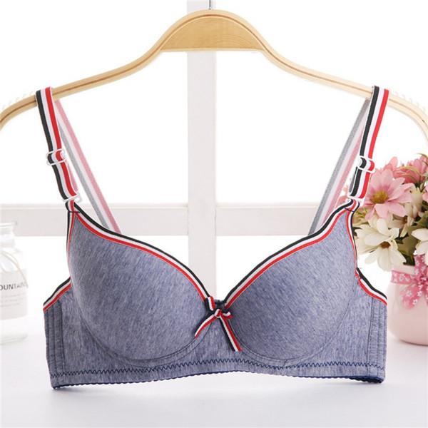 Algodón Moda Ajustable sin costuras sexy Bralette Up Sexy sujetador sujetador Free Wire Gather Push Super Lencería Raya para mujeres
