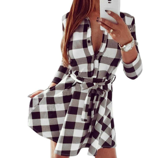 2019 Spring and Autumn Women Casual Dress Plaid Print Shirt Dress High Waist Casual Slim Vestidos With Belt Mini Dress