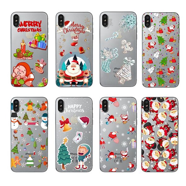 Many Choice Mix Hot Sale Soft Clear Phone Cover Christmas Santa Claus Phone Case for iPhone 7 7plus X/XS XR MAX
