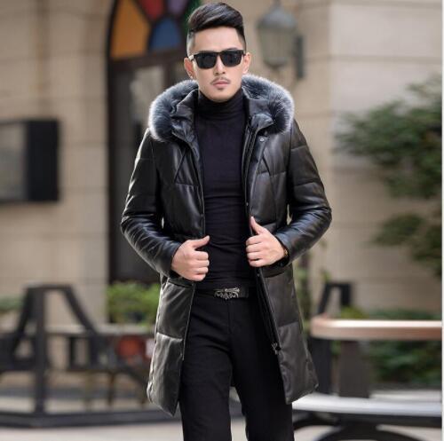New arrival Men Winter 95% White duck down Jacket Genuine Leather Men's down Coat Real fox fur collar mens long winter coat