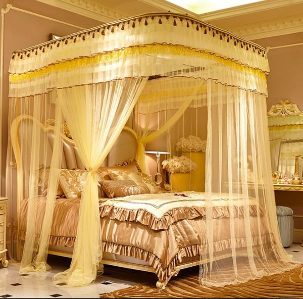 Elegante Hung U forma Três Porta Mosquiteiros Cor Brilhante Para O Verão de Malha De Tecido Acrílico Casa Têxtil Suprimentos Produtos