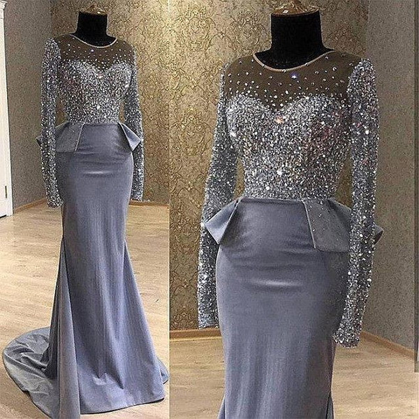 Major Beading Crystal Mermaid Prom Dresses 2019 With Sheer Long Sleeves Plus Size Dark Gray Satin Formal Evening Occasion Gowns Cheap