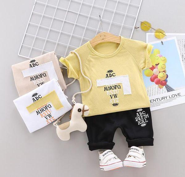 Little Kids Sets 1-3T T-Shirt O-Collo per Bambini Pantaloncini 2 Pz / set Ragazzi Ragazze Cotone Puro Piccolo Logo Estate Bambini Imposta hf60305