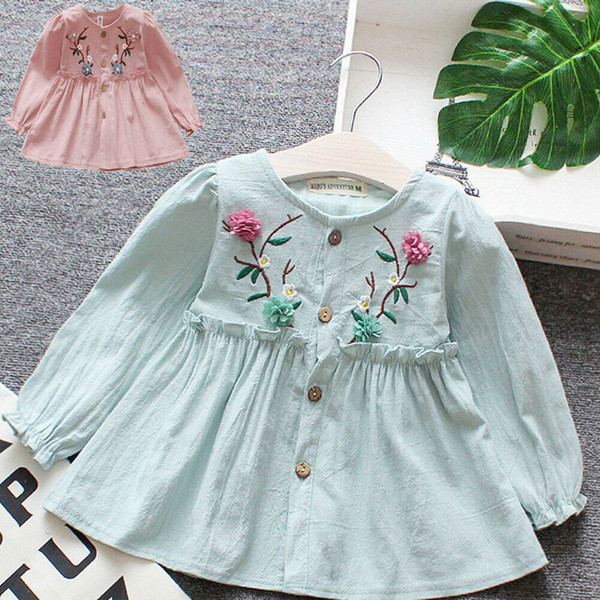 Children Kids Girls Spring Flower Casual Cotton Long Sleeves Printed Dresses