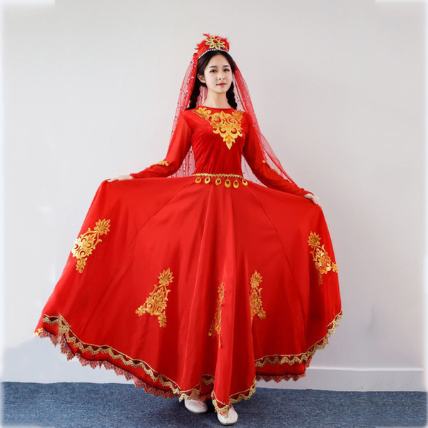Xinjiang Ethnic Performances Adult Clothing Red Uygur dance costume India sari style stage wear long dress