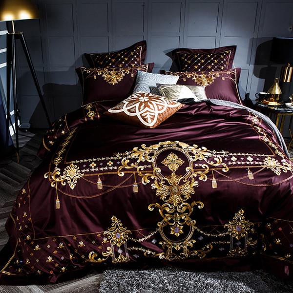 2018 Noble European Wine Red Duvet Cover Set Soft Egyptian Cotton Bedlinens 4/6pcs Queen King Size Bedding Set Cushion Covers