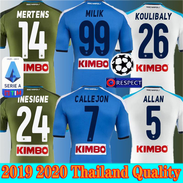 2019 2020 Naples Napoli Domicile Extérieur Troisième maillots de football Maillot de maillots de football Napoli bleu HAMSIK L.INSIGNE PLAYER Shirt S-2XL
