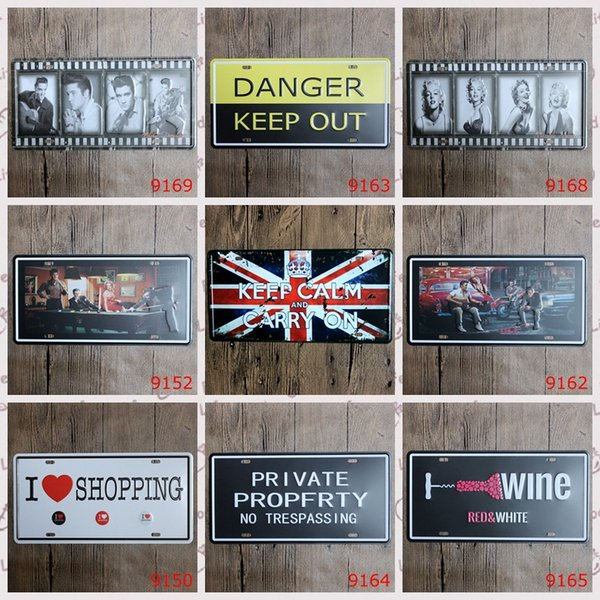 15x30 Cm Vintage License Plates SHOPPING POP SATR WINE Warning Plaque Retro Iron Painting Wall Sticker Number Plate Metal Craft