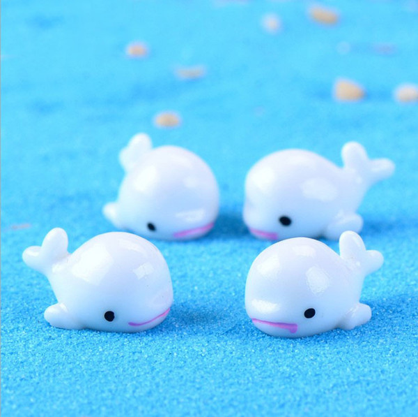 Mini Cute White Blue Dolphin DIY Material Cake Doll Accessories Bonsai Handicraft Moss Terrarium Micro Landscape Fairy Garden Desktop Zakka