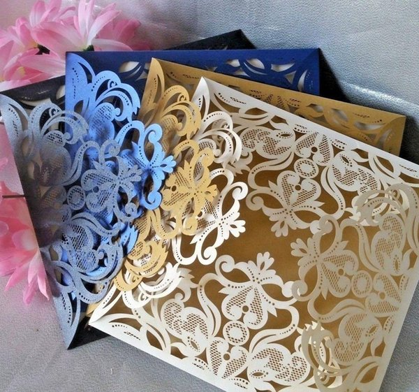 Premium Quality Laser Cut Wedding Invitations Card Insert Envelope Pear Ivory Blue Gold Black