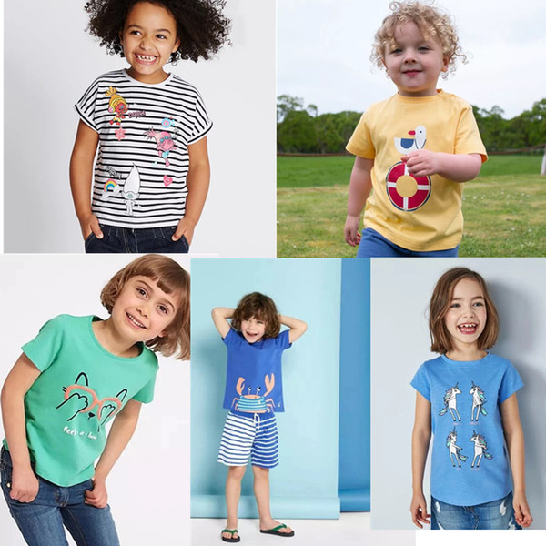 Fashions Girls Embroidery Summer Infant Cotton Striped Children Girls Tee Cartton Elephant Heart Rainbow Flower Short Sleeve T-shirts Tops