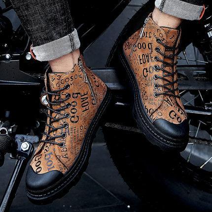 scarpe Martin stivali moda giovani ragazzi di sesso maschile non-slip corto alla caviglia tacco piatto ad alta cima scarpe di cuoio casuali trasporto di alta qualità