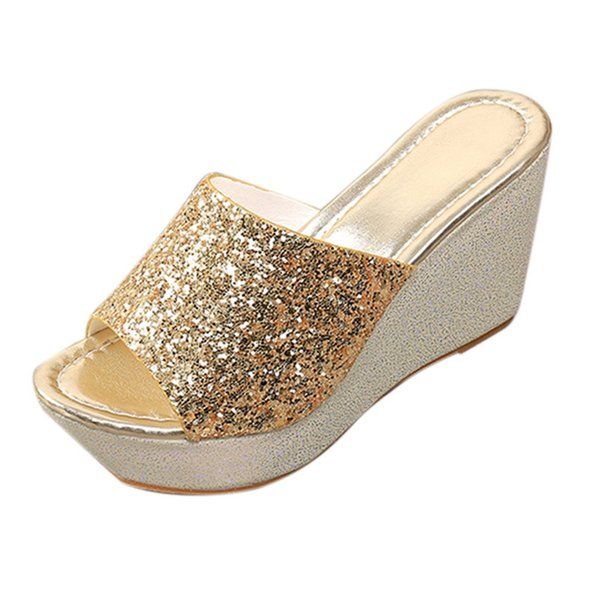 slippers women summer Women Fashion Sexy Bling Wedges High Heel Round Toe Slippers Flip Flop Shoes chaussures femme#g7