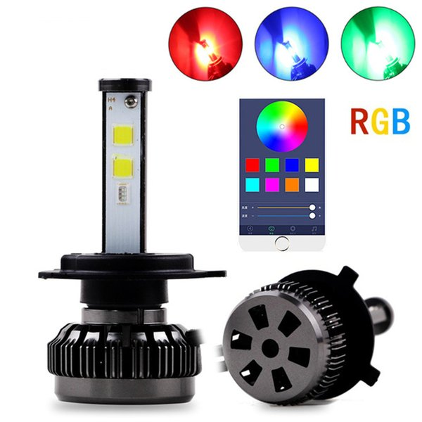 Araba Renkli DIY RGB Oto LED Far Kitleri H1 H7 H4 H8 HB3 HB4 881 H16 APP Bluetooth Uzaktan Kumanda Sis Işık