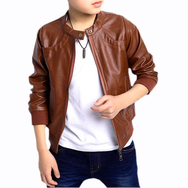 New Boys Coats Faux Leather Jackets Children Fashion Outerwear Spring & Autumn -Black/Brown, 110cm-160cm