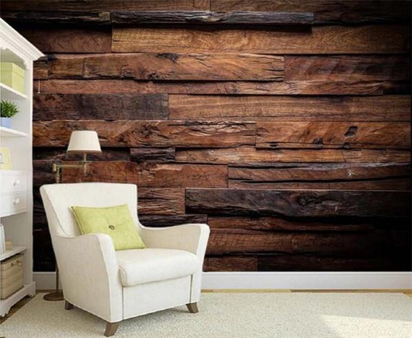 Custom Wallpaper Murals Large Wall Painting Retro Nostalgic Wood Panels Wood Grain Wall Mural De Parede 3D Wallpaper For Walls