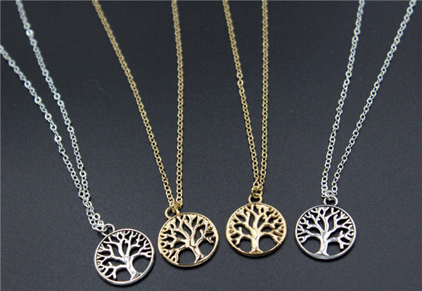 Vintage Tree of Life Pendant Necklaces Antique Silver & Gold Plated Charm Necklace Peace Trees Sweater Chain Fine Jewelry Xmas Gift T003