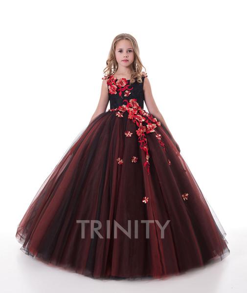 Pageant de fille assez rouillé noir broderie fille robes de fille de fleur vacances / anniversaire jupe princesse jupe taille personnalisée 2-14 F110140