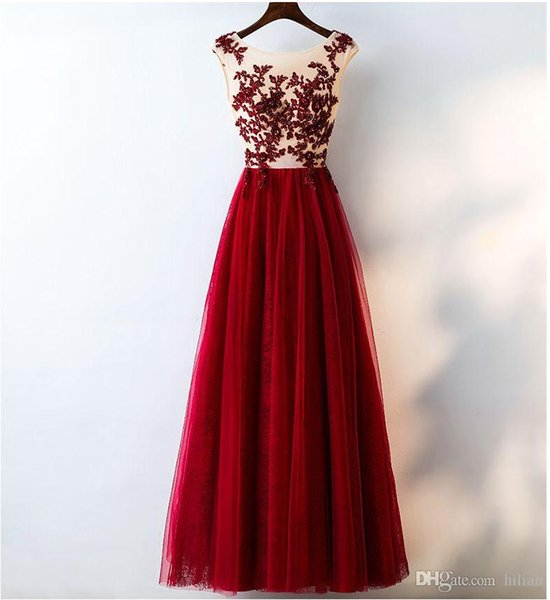 Women Fashion Red Jewel Sexy Long Full Length Lace Applique Long Evening Dress Prom Dress For Formal Occasion Party Hand made Plus Size