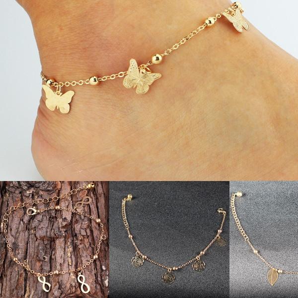 Sandalias descalzas baratas para zapatos de boda Sandel Tobillera Cadena Elástico más caliente Anillo de punta de oro Rebordear Boda Nupcial Dama de honor Joyas Pie