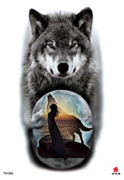 Tatouage temporaire Tatoo Faux Autocollant Wolf Moon Grande Taille Tatouages Autocollants Tatouage Imperméable Flash Tatto Pour Hommes Femmes Fille