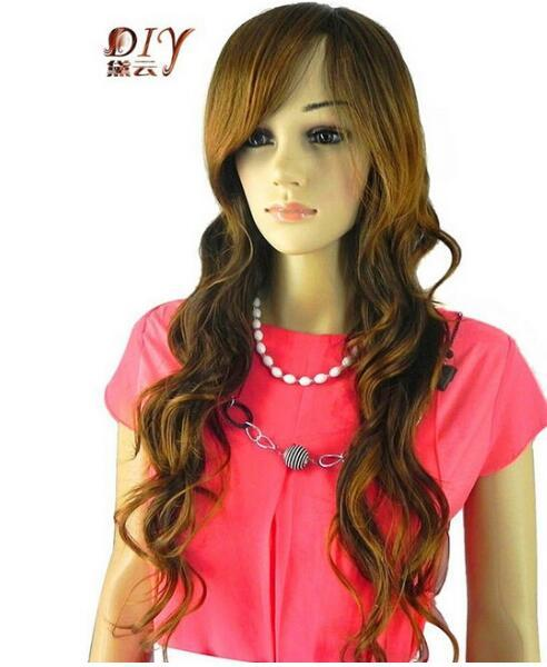 FREE SHIPPING + + +New Women Brown Wavy Synthetic Inclined Bangs Hair Full Cosplay Long Wig