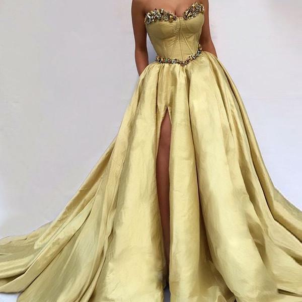 Formal Muslim Evening Dresses 2019 Mermaid Sweetheart Taffeta Crystals side Slit Islamic Dubai Saudi Arabic Long Elegant prom Gown
