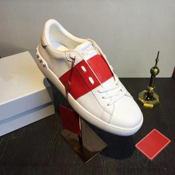 Rojo Negro Banda Señora Confort Casual Zapato de vestir Zapatilla deportiva Hombres Zapatos de cuero ocasionales Diseñador Mujeres Sendero Senderismo Zapatillas de deporte Lowtop